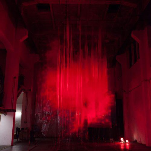 Stratachrome Red by David Spriggs. Installed at Trafacka Gallery, Prague.