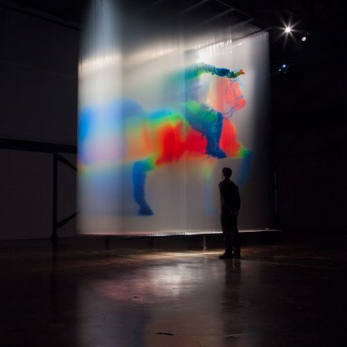 David Spriggs. Regisole - Sun King. 2015Dimensions: 479 x 184 x 579 cm / 188.5 x 72.5 x 228 inches3D installation artwork, acrylic spray paint on layers of transparent film, springs, t-bars, lighting. Digital modelling by Ian Spriggs.