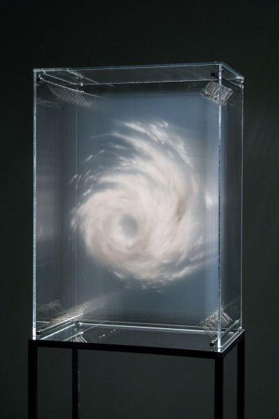 Tempest by David Spriggs  Acrylic paint on multiple sheets of transparent film in display case